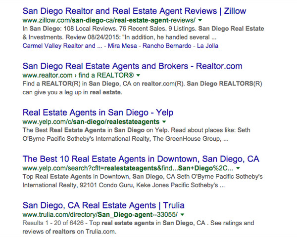 """search for terms like """"San Diego Realtor"""" or """"San Diego real estate agent"""""""