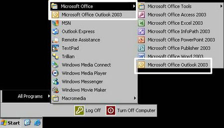 Click on the Start Menu. Go to All Programs, then Microsoft Office, then select Microsoft Outlook.