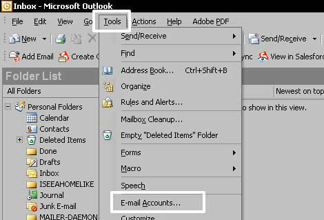 Click on the Tools Menu. Click on - E-mail accounts - at the bottom of that menu.