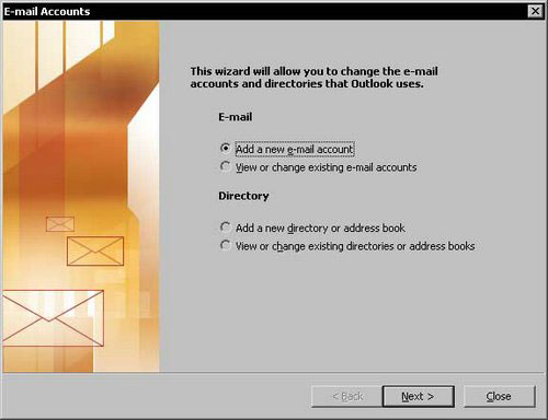 Click add a new E-mail account. Click Next.