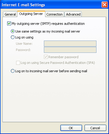Click the Outgoing Server tab and check the box that says - My outgoing server (SMTP) requires authentication. Then click the button that says - Use same setting as my incoming mail server.